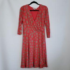 Boden Coral Polka Dot Faux Wrap Dress Size 12